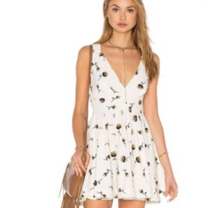Free People Fit and Flare Floral Dress with Tie